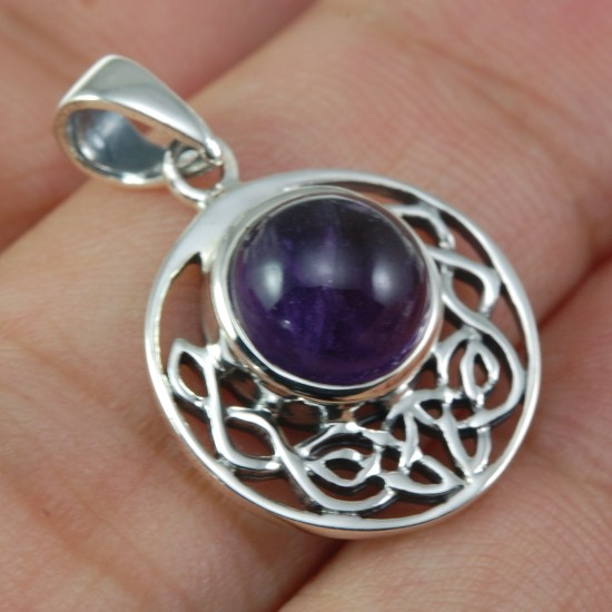 Details about  /Brand New 925 Sterling Silver Celtic /& 6mm round Amethyst Pendant Necklace